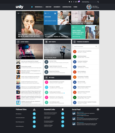 Unily standard homepage