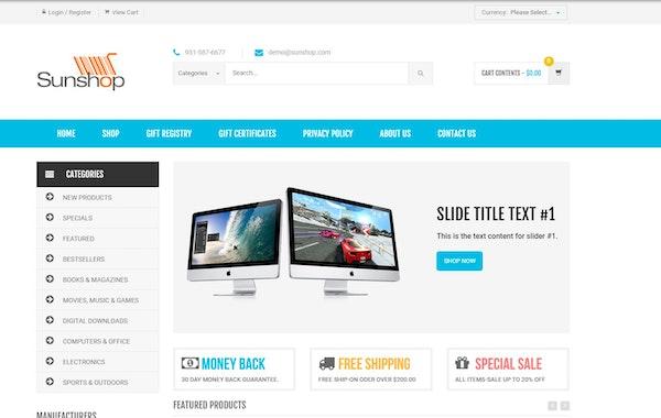 SunShop storefront designer