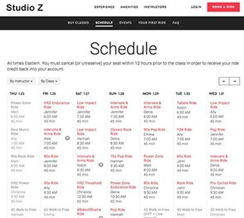 zingfit schedule management