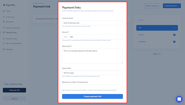 SuperPay payment link creation