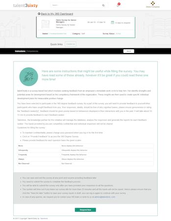 Talent3sixty survey instructions