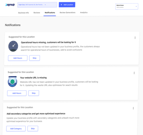 Synup notifications