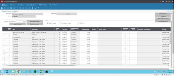 CloudSuite Industrial (Syteline) material planner screenshot