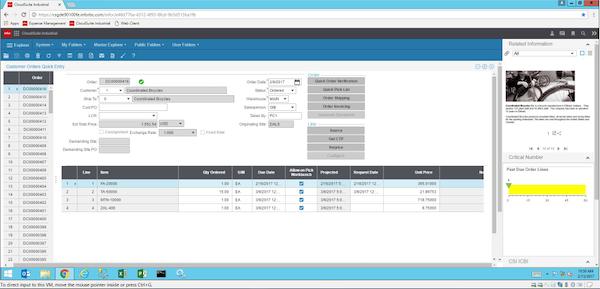 CloudSuite Industrial (Syteline)  order management screenshot