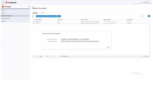 Tanium drive encryption dashboard screenshot