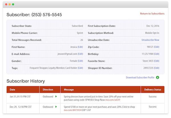 Tatango subscriber profile screenshot