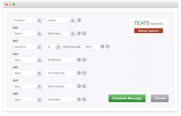 Tatango subscriber segmentation screenshot