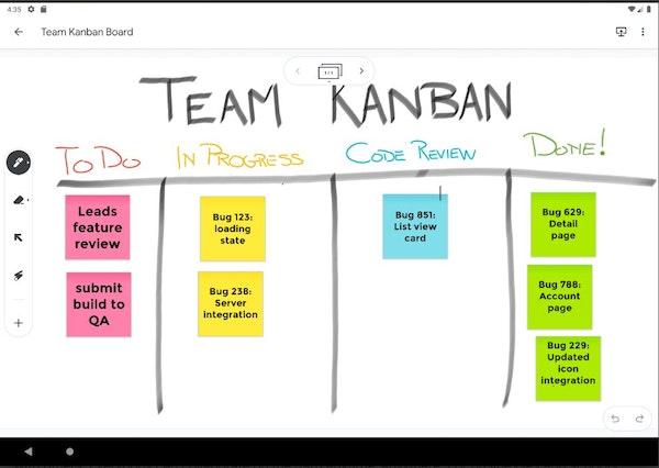 Jamboard team Kanban board