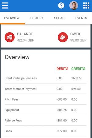 TeamStats team finances