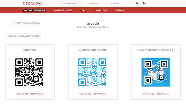 Scanova QR Code Generators customizable logos