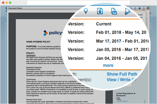 PolicyManager version control screenshot
