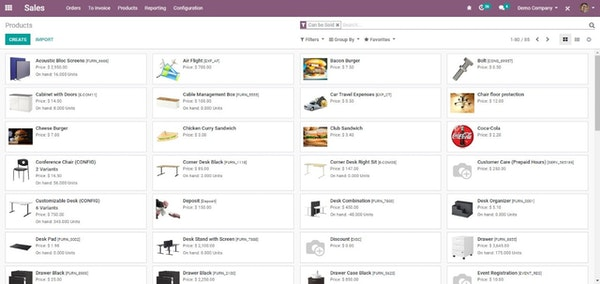 odoo products