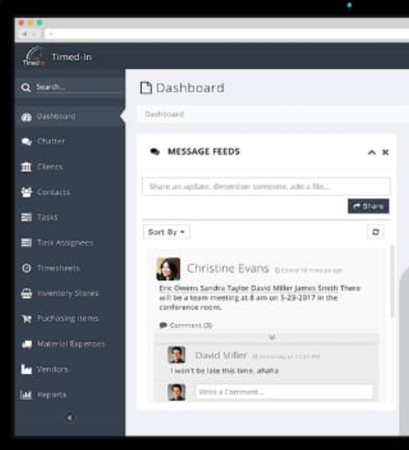 Timed-In dashboard