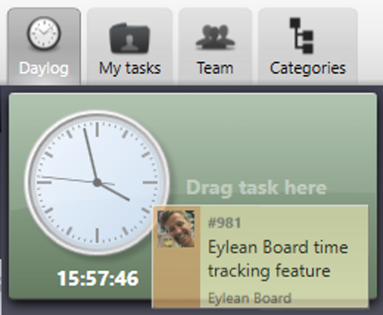 Eylean Board time tracking day log screenshot