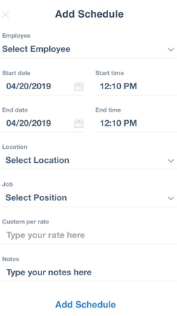 Time Clock Wizard add work schedule