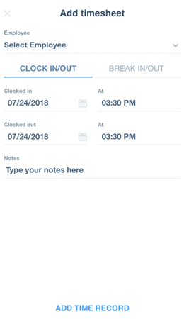 Time Clock Wizard add employee's timesheet