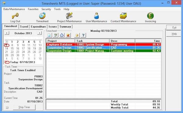 Timesheets MTS employee timesheets