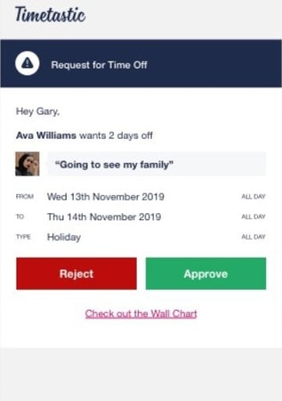 Timetastic time-off approval