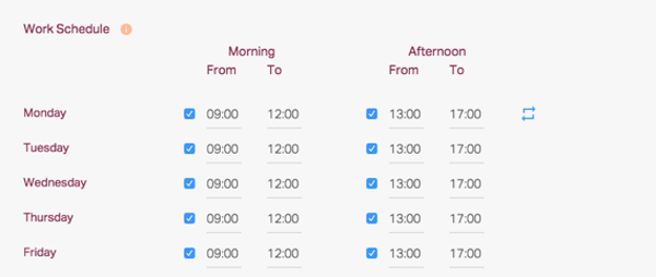 Timetastic work schedule