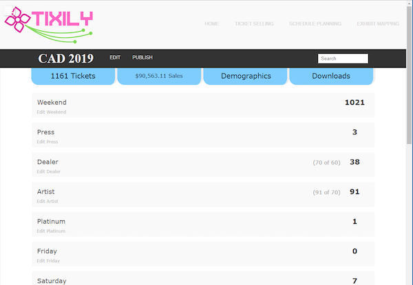 Tixily events page screenshot