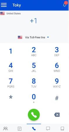 Toky dial calls