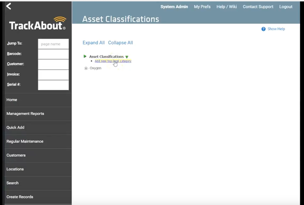 TrackAbout asset classification