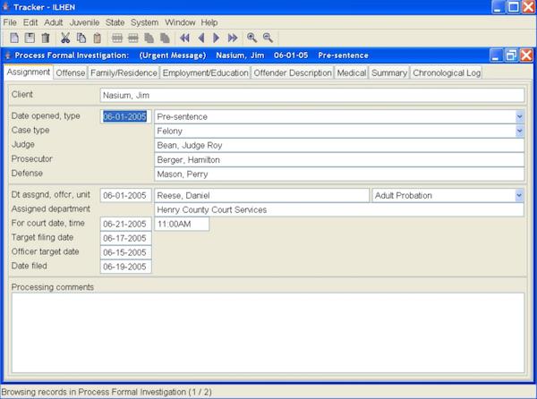Tracker process formal investigation
