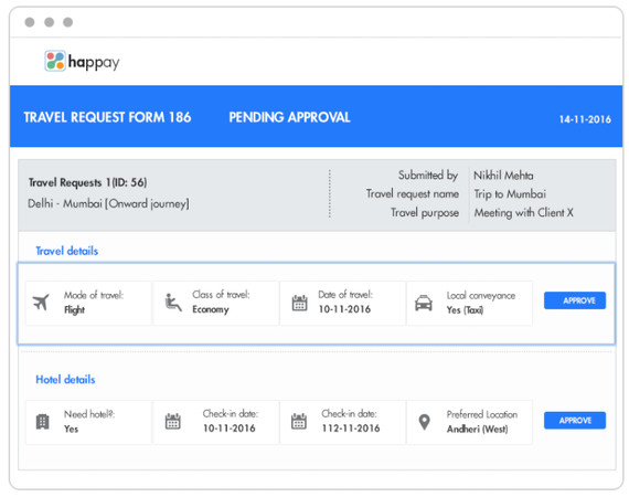 Happay travel request form