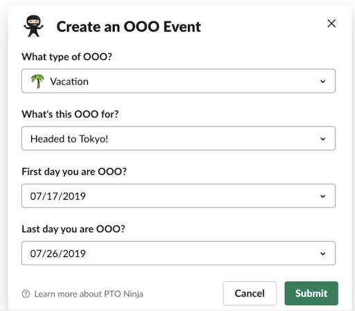 PTO Ninja OOO events
