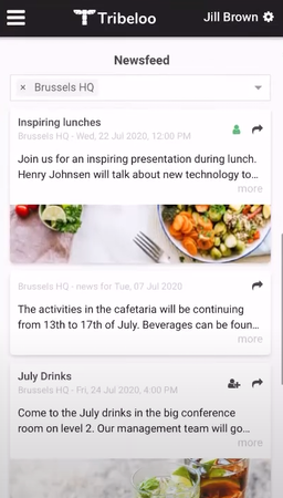 Tribloo events feed