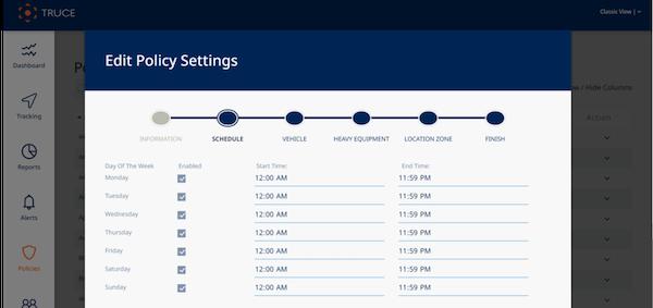 Truce Software policy settings screenshot