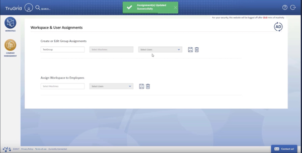 TruGrid workspace and user assignments