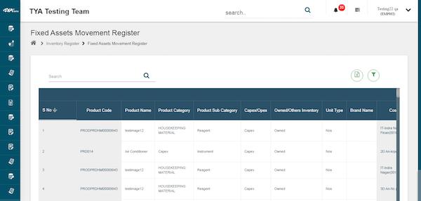 TYASuite Asset Management asset movement register