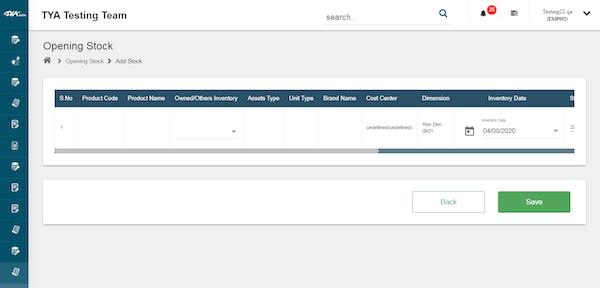 TYASuite Cloud ERP Software opening stock