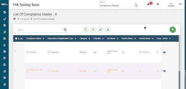 TYASuite Compliance Management compliance master