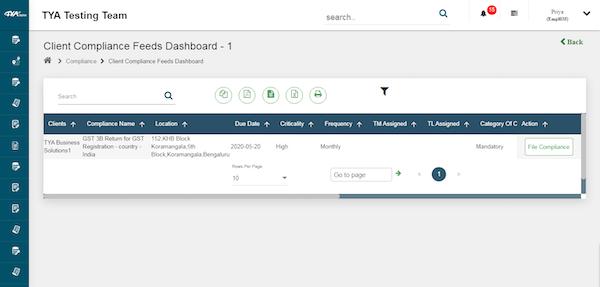 TYASuite Compliance Management dashboard