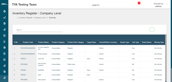 TYASuite Inventory Management company level inventory