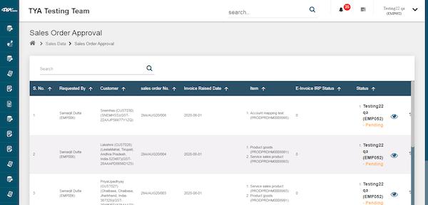 TYASuite Sales Order Management sales order approval