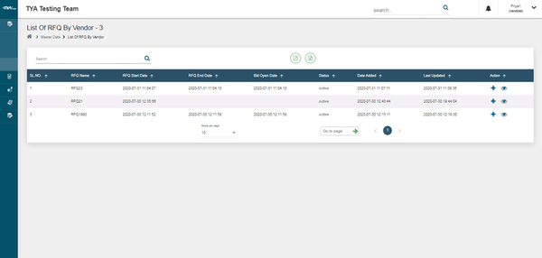 TYASuite Vendor Management RFQ by vendor