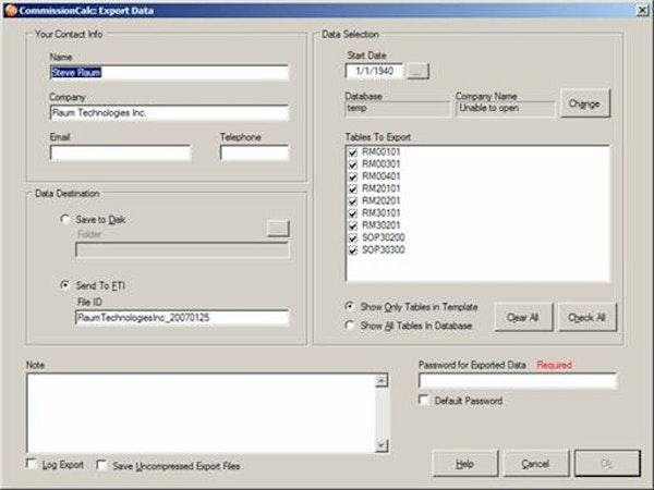 CommissionCalc data exporting