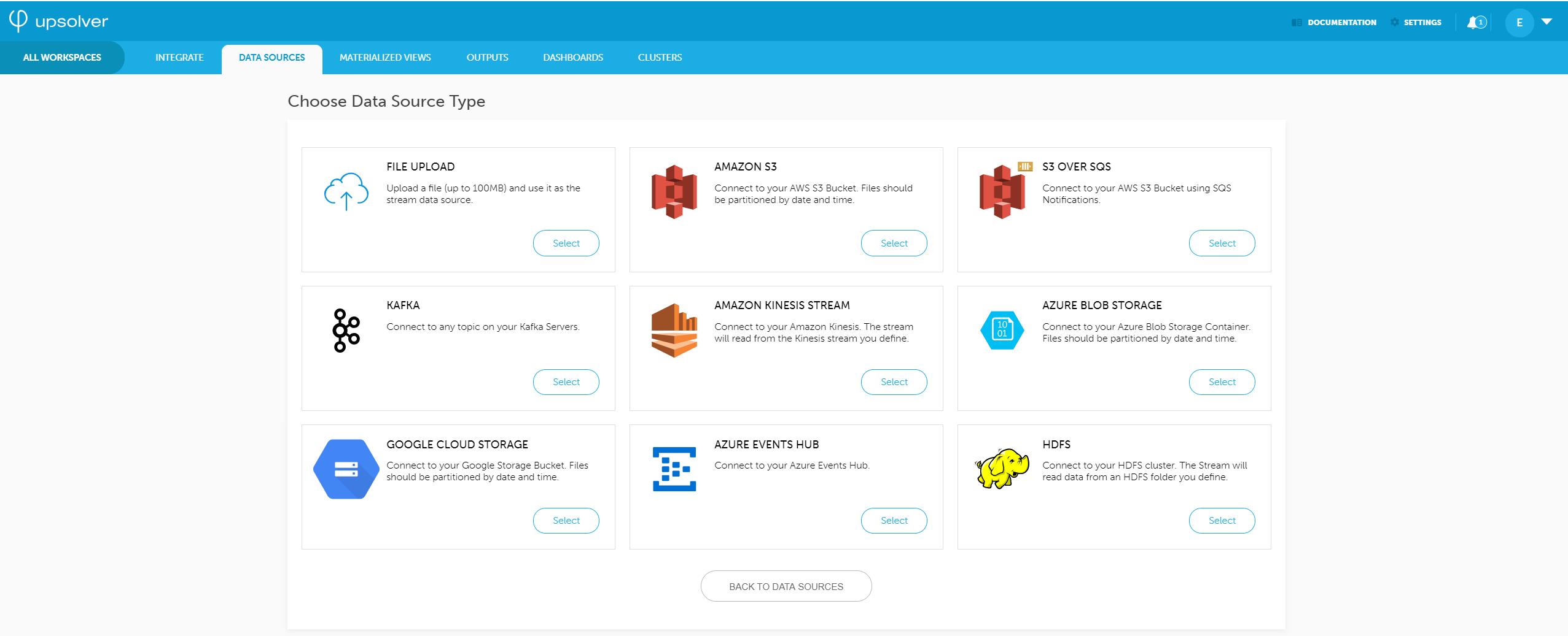 Upsolver - Choose data source