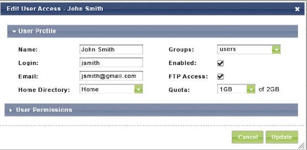SmartFile editing user permissions