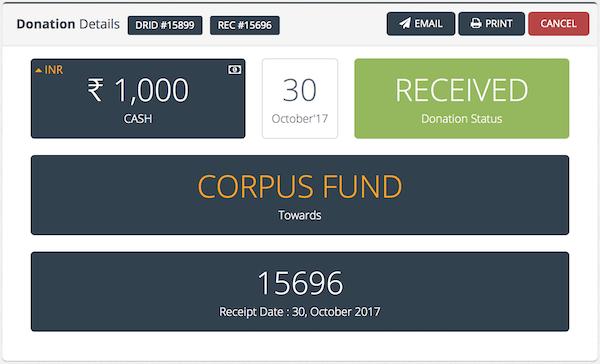 CharityERP donation details screenshot