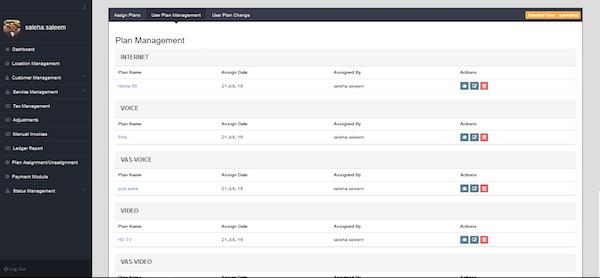 Telco Billing Solution plan management screenshot