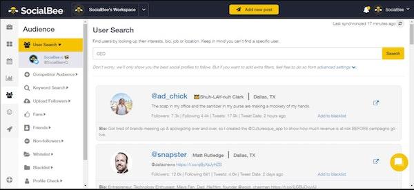 SocialBee user search