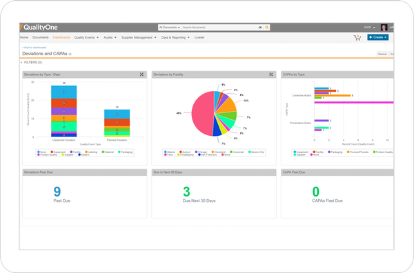 QualityOne CAPA management screenshot
