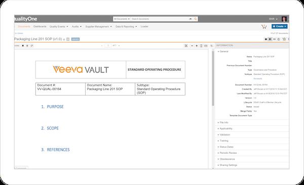 QualityOne document control screenshot