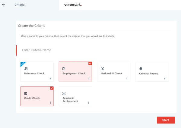 Veremark criteria creation