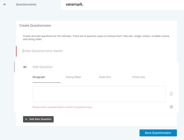 Veremark create questionnaire