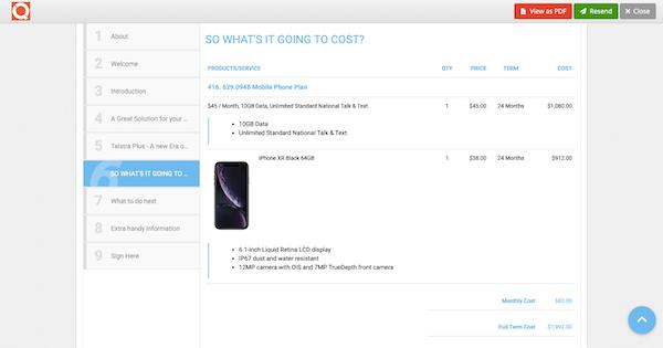 QuoteCloud proposal screenshot